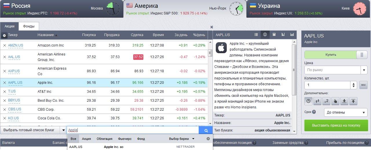 Как купить акции Apple в НетТрейдер